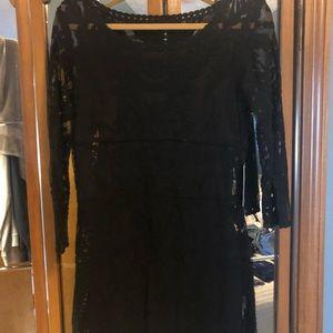 Short, sexy black lace dress